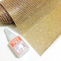 Manta De Strass Cristal Original Termocolante Dourado Prata