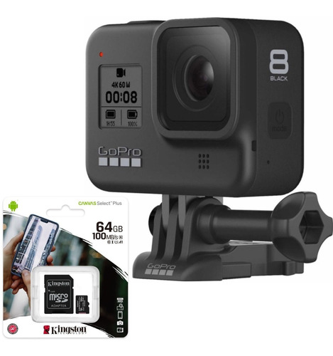 Câmera Digital Gopro Hero 8 Black 12 Mp 4k + Sd 64gb Com Nfe