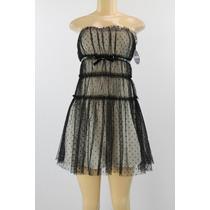 Vestido De Renda Strapless Preto Bege Giambattista Valli