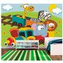 Papel De Parede Infantil Trenzinho Animais Zoo Adesivo M58
