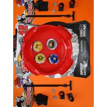 04 Beyblades Metal + Pista De 25 Cm Com 02 Lançador Corda