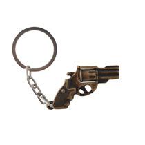 Chaveiro De Metal Bélica Revolver De Tambor Giratório Bronze