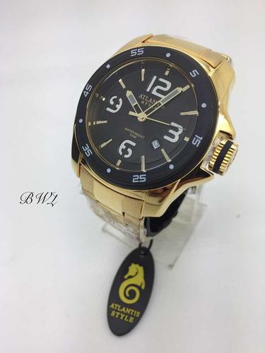 fed855553cf Relógio Atlantis Style Original Aço Dourado
