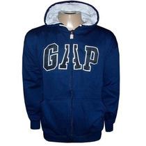 Blusa Gap De Moletom Casaco Jaqueta Com Ziper Azul Escuro