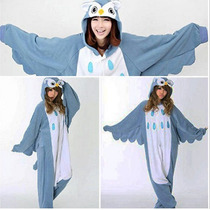 Pijama Adulto Macacão Animal Ave Coruja Com Capuz