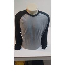Camiseta Manga Longa Modelo Raglan Cinza Mescla