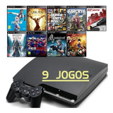 Ps3 Slim + 9 Jogos - Gta5 - Fifa 19 - God Of War - Far Cry 4