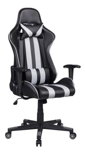 Cadeira De Escritório Pelegrin 3013 Ergonômica Preta E Cinza Con Estofado Do Couro Sintético