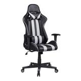 Cadeira De Escritório Pelegrin 3013 Gamer Ergonômica Preta E Cinza Con Estofado Do Couro Sintético