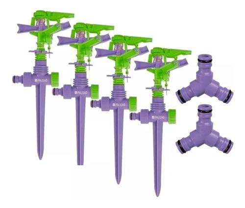 4 Irrigador Aspersor Setorial P/jardim 450m/adaptador Triplo