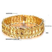 Pulseira/bracelete Masculino Dourado Banhado A Ouro 18k Luxo