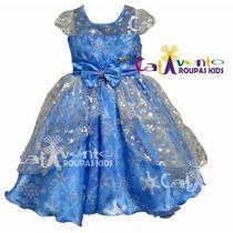 Vestido Festa Infantil Princesa Frozen E Tiara De Princesa