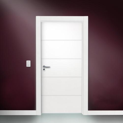 Porta De Madeira Semi - sólida 4 Frisos Horizontais Com