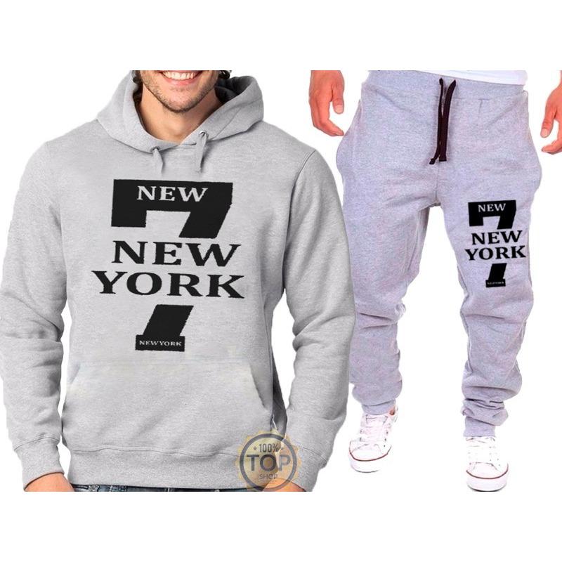 Kit Calça + Blusa Moletom 7 New York Academia Masculino em Congonhas ... 7565548d85d