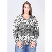 Blusa Plus Size Floral Feminina Fina Pallola - Bco/pto
