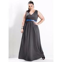 Vestido Longo Com Decote V - Plus Size - Gordinhas Lindas