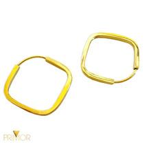 Brinco Em Ouro Amarelo Argola Oca Formato De Losango Br022