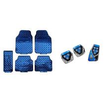 Kit Jogo De Tapetes 5 Peças Azul E Pedaleiras Azul