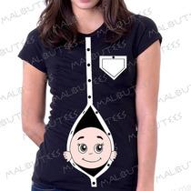 Baby Look Camiseta Gravida Gestante Bebe Na Barriga Espiando