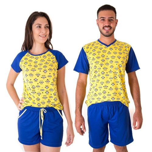 08b5de1e0 Pijama Namorados Minions Kit Com 2 Modelo Curto Frete Gratis. R  139.8