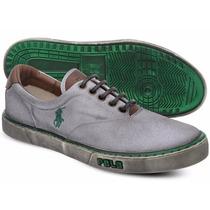 Tênis Polo Sneaker Masculino Branco E Verde Manchado