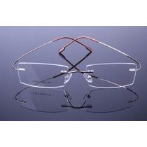 Armação Dourada Oculos De Grau Metal Titanium Sem Aro - 578