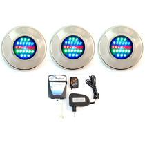 Kit Iluminação Refletor Piscina 3 Led 25 Colorido + Comando