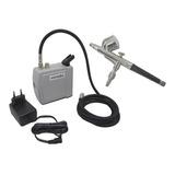 Aerógrafo Profissional Dupla Ação 0,3mm + Mini Compressor Ar