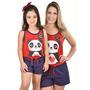 Kit 2 Baby Doll Mãe E Filha Panda Pijama Verão Curto