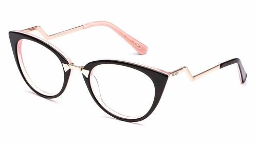 d3d3edf999231 Armação Oculos De Grau Feminino Ff0118 Gatinho Lançamento