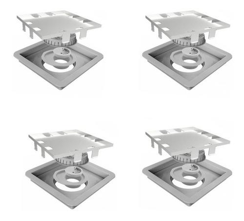 Kit Com 4 Un. Ralo Linear Square -tampa Oculta - Elleve - 15x15 - 209