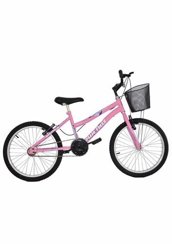 99600e909 Bicicleta Infantil Aro 20 New Bike Feminina Com Cesta