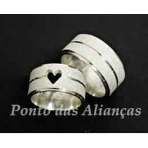 Alianças De Prata 950 10mm Coração Vazado Frete Grátis!!!
