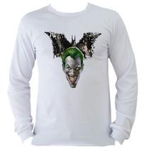 Camiseta Adulto Manga L. Batman Bat Man Coringa Joker D