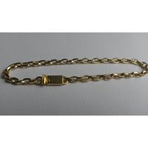 Pulseira Cadeado 3mm - Banhada Ouro - Fecho Gaveta