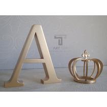 Enfeite Letra Inicial Coroa Dourado Mdf Bebê Decoração Quart