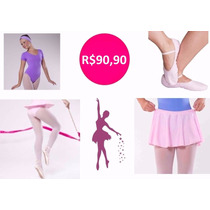 Roupa De Ballet Infantil - Kit Com 04 Peças - Manga Curta