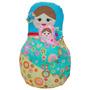 Boneca Decorativa Matrioshka Com Bebe Azul Em Tecido