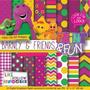 22 Itens Kit Digital Editavel Scrapbook Barney E Amigos Arte
