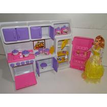 Kit Cozinha Casa Boneca Panelinha Geladeira Tamanho Barbie
