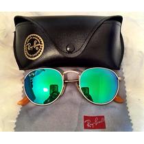 Óculos De Sol Redondo Round Feminino Verde Espelhado Retrô