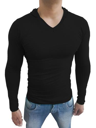 fa0923ea5d Camisa Masculina Slim Capuz Gola V Rasa Manga Comprida