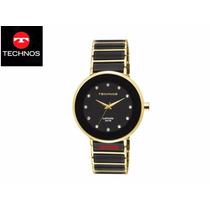 Relógio Technos Sapphire 2035lmm/4p Dourado Safira Ceramica
