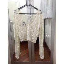 Cropped Branco C/ Renda Feminino Blusa Curta Top 2016