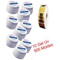 10 Gel Uv Acrygel Construtor De Unhas 500 Moldes Adesivos