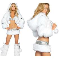 Fantasia Feminina Princesa Frozen Esquimó Gelo Branca!