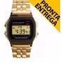 Relógio Feminino Dourado Masculino Retrô Vintage Barato