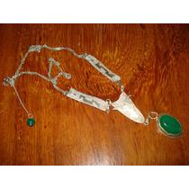 Colar Em Prata 950k Com Enorme Pedra Natural De Jade