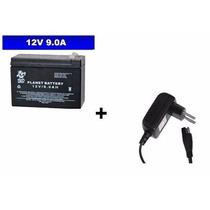 Bateria 12v + Carregador 12v P/ Moto Elétrica Bandeirantes