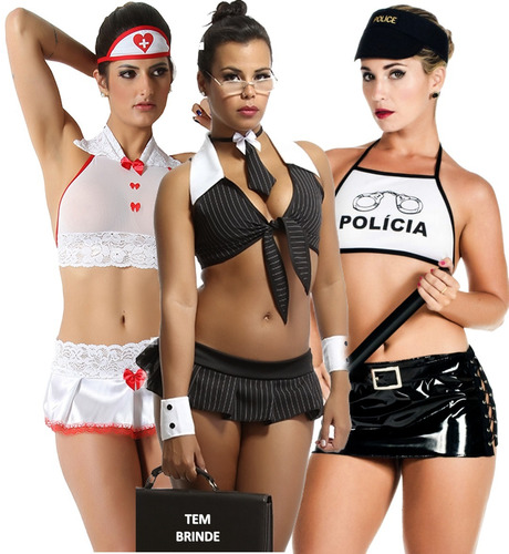 f6ee25902 Plus Size Fantasia Sexy Moda Feminina Kit 3 Uni Gg +brinde à venda ...
